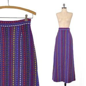 vintage 60s wool blanket skirt | purple boho maxi
